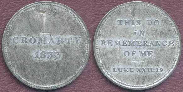 Cromarty Communion Token - 1833