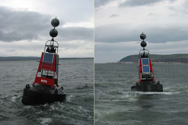 Two views of the Natal marker buoy.