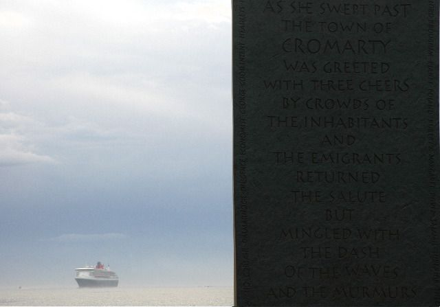 QM2 and Emigration Stone