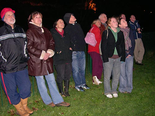 Crowds watch the Firework display on the links