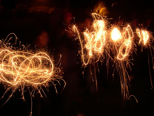 Sparklers in the night
