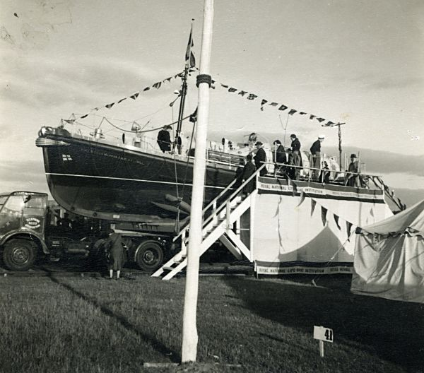 Lifeboat on display - Inverness - 1955