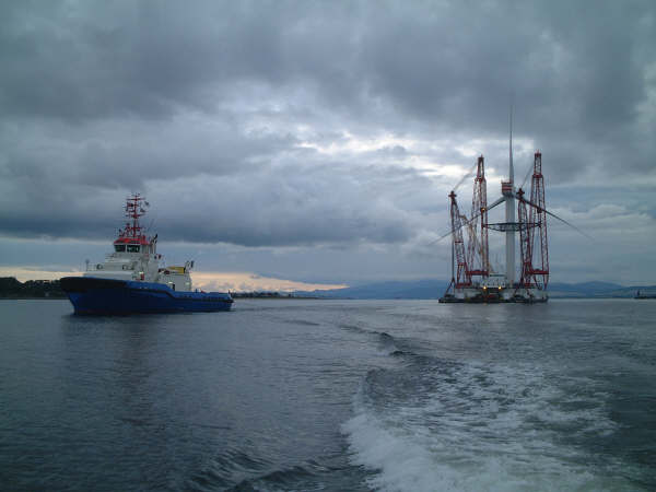 Talisman Wind Turbine leaving Nigg