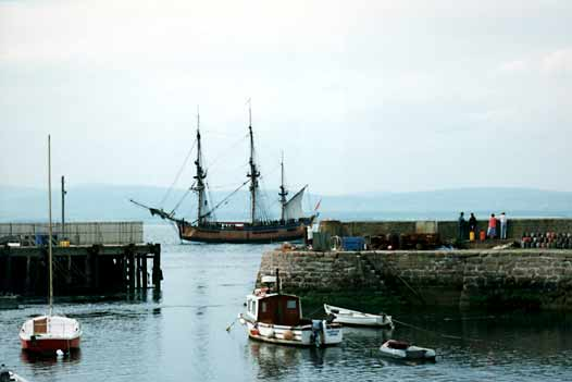Old Sailing ship by harbour