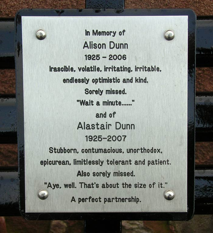 Memorial Plaque for Alison and Alastair Dunn