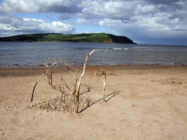 Sand sculpture on Cromarty Links beach