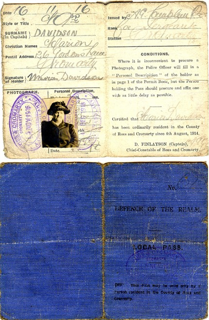 Marion Davidson Wartime Pass Book
