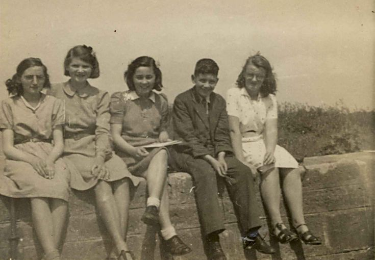 Group on the Harbour Wall - c 1945