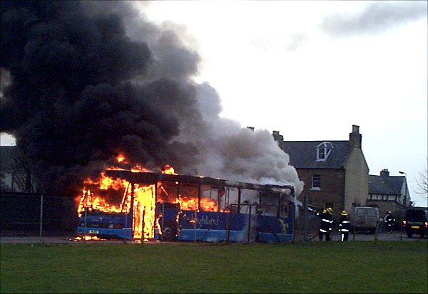 Inverness - Cromarty bus on fire - 2003