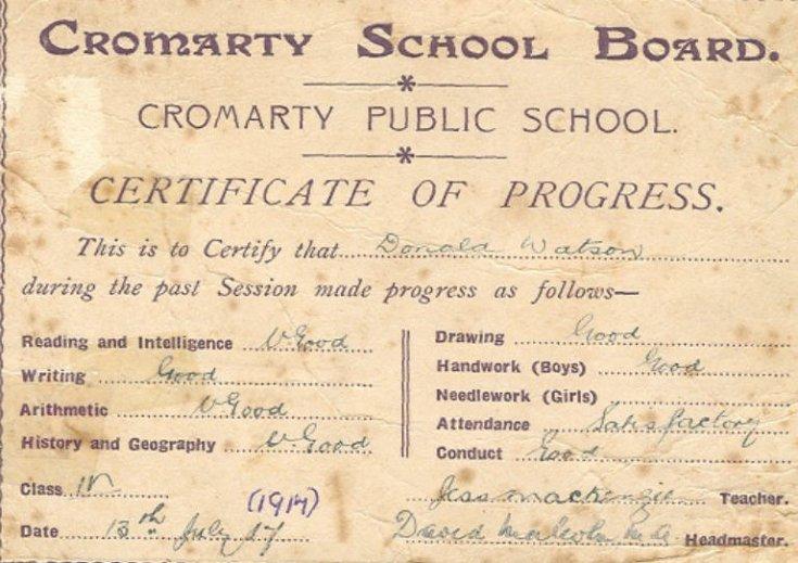 Cromarty School Board - Certificate