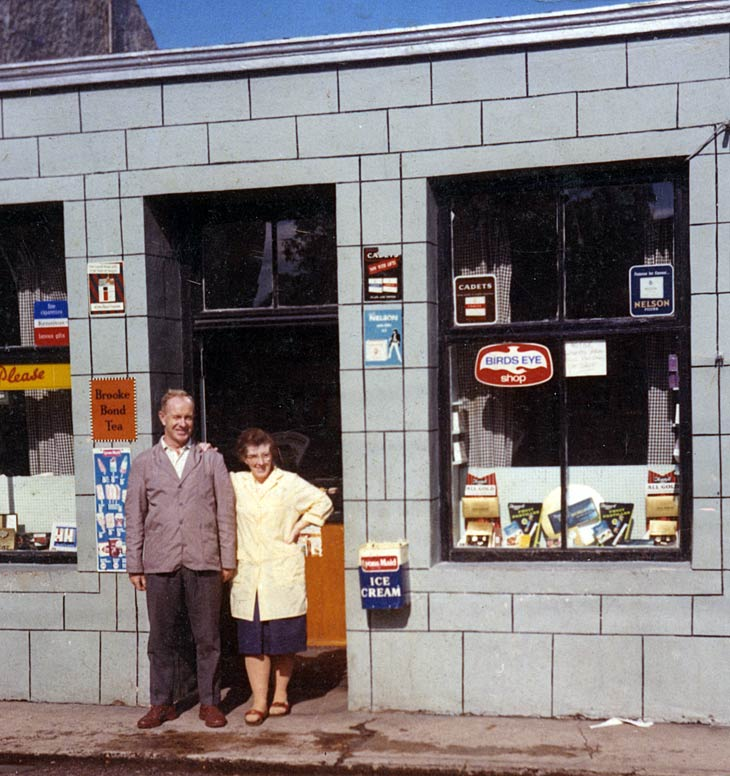 Jean and Roddy McBeath outside their shop
