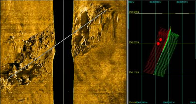 Sonar scan showing the Natal on the sea bed