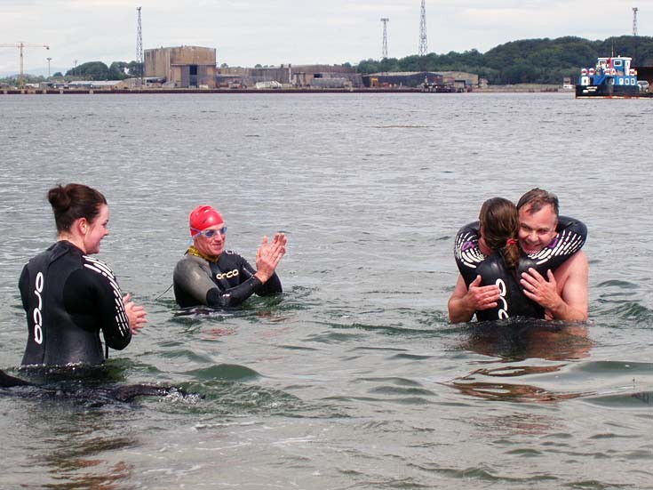 Swimmers celebrate Firth Crossing