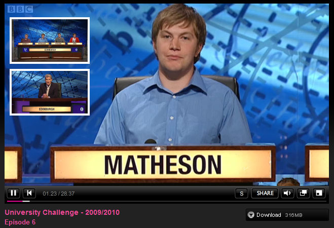 Andrew Matheson on University Challenge