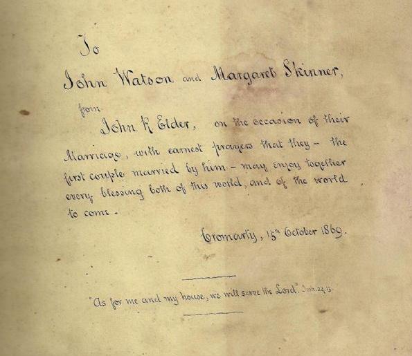 Marriage Bible Inscription