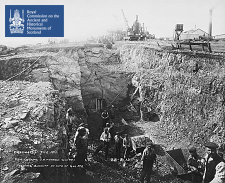Excavation works for gun emplacements (Guns No. 1 and 2), South Sutor, Cromarty, 1913