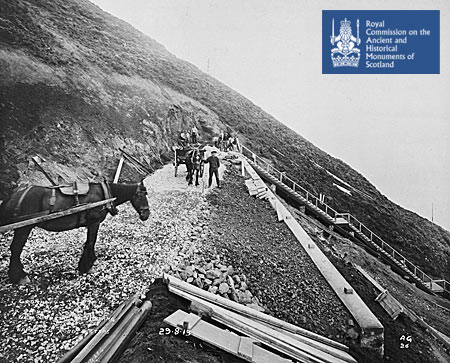 Approach road and steps to battery construction site, Cromarty, 1913