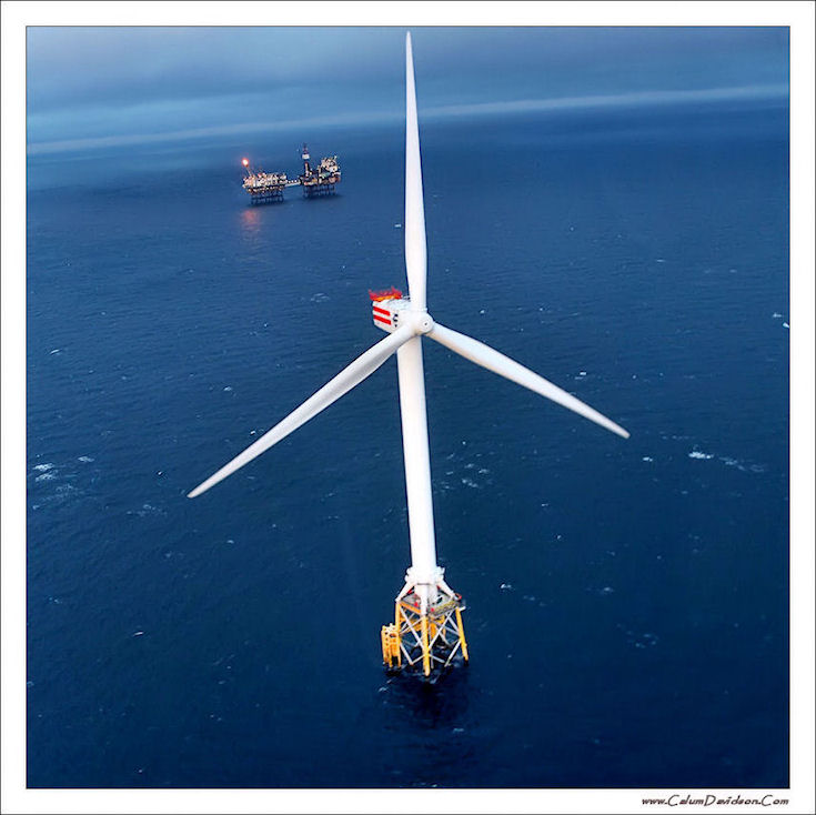Beatrice Wind Turbine No 1 and the A and B Platforms