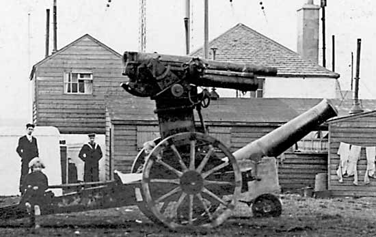 Guns outside the Coastguard Station - c1916