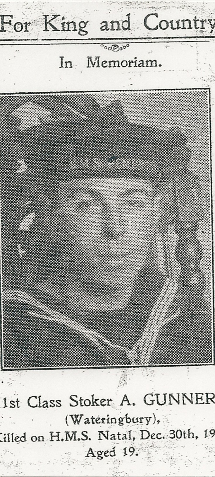 Alfred Gunner - 1st Class Stoker, HMS Natal