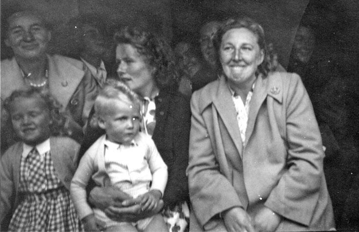 Ferry passengers c1955