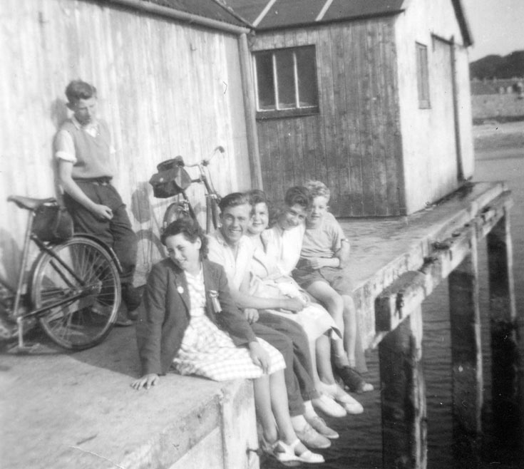 Group of children on harbour - c1950