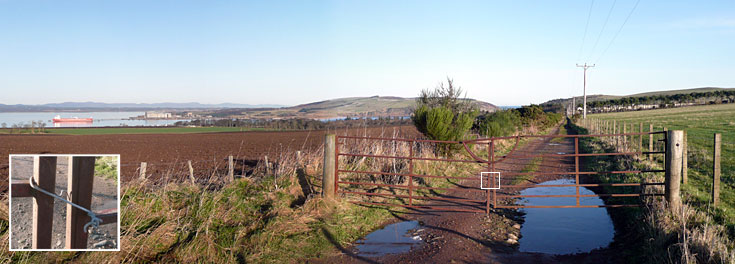 View from the American Road, January 2012 (gate wired shut?)