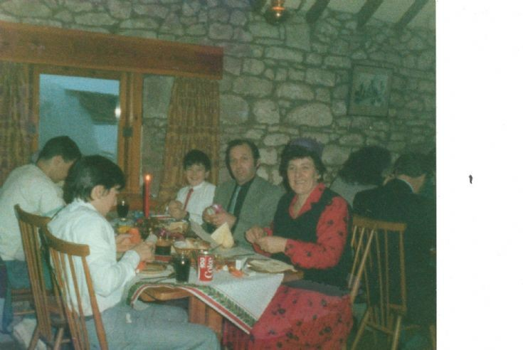 Jean & Andy Young & Family having a meal in The Byre