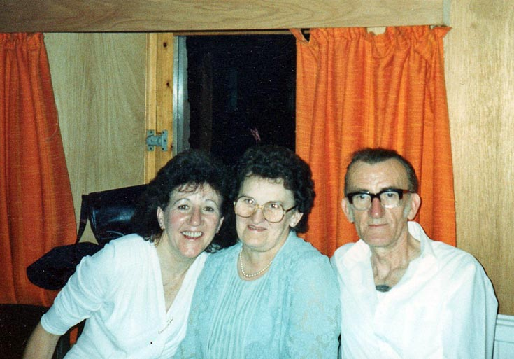 Ann Picket with Elizabeth and Maurice Shepherd in the Byre