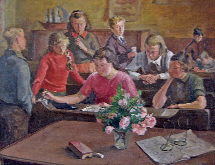 Oil painting done by a teacher at Cromarty School in the 1940s
