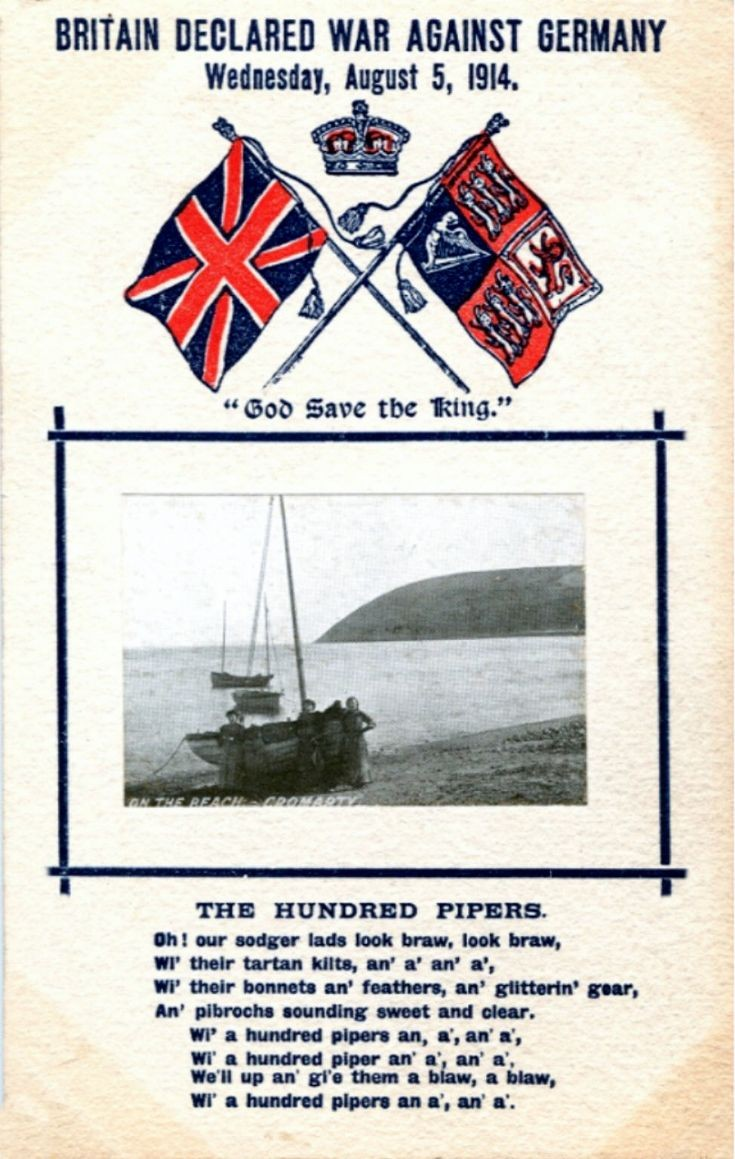 1914 DECLARATION OF WAR POSTCARD
