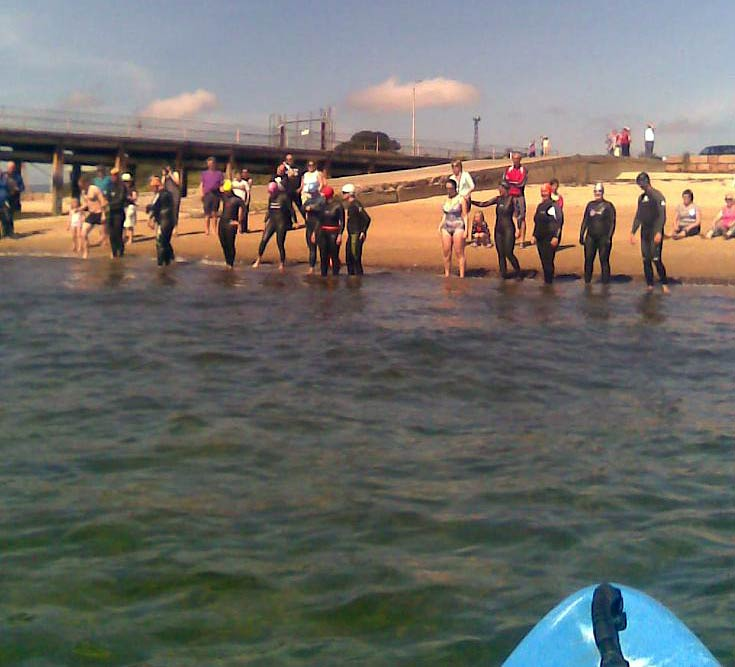 13 of 14 competitors at the start of the 2012 Cromarty Firth Swim at the ferry slip at Nigg