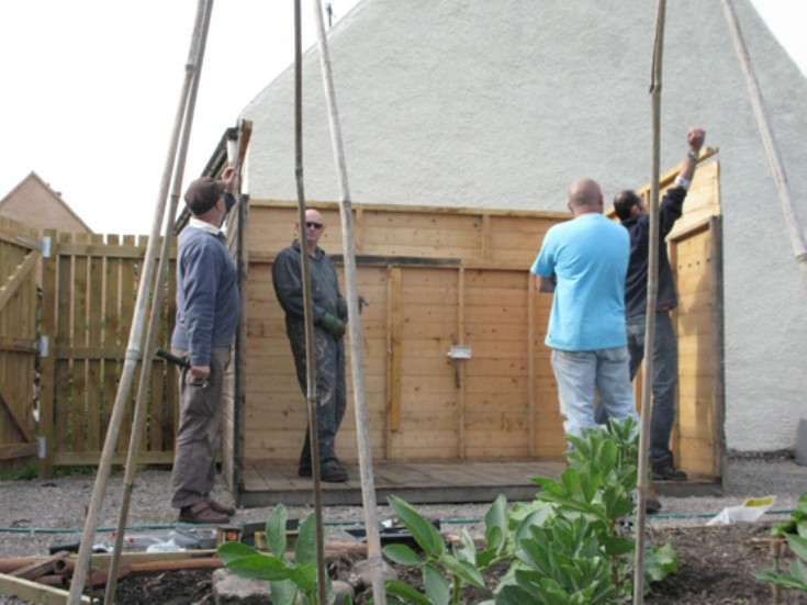 Cromarty Allotments Shed - Three walls and a floor.