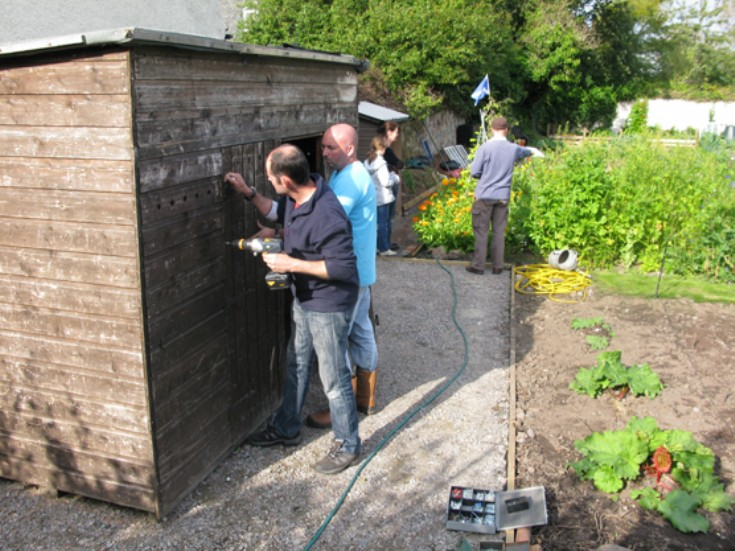 The Allotments - shed door now on with Colin taking a well earned break