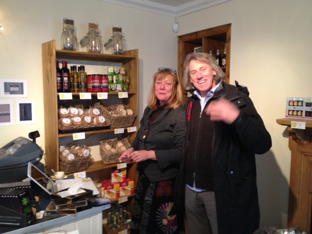Jon and Emmy getting ready to launch the new Cromarty 'Cheese House'.