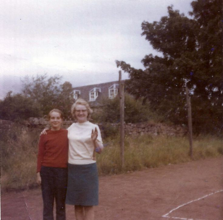 Cynthia and Mrs Bain in the old tennis court