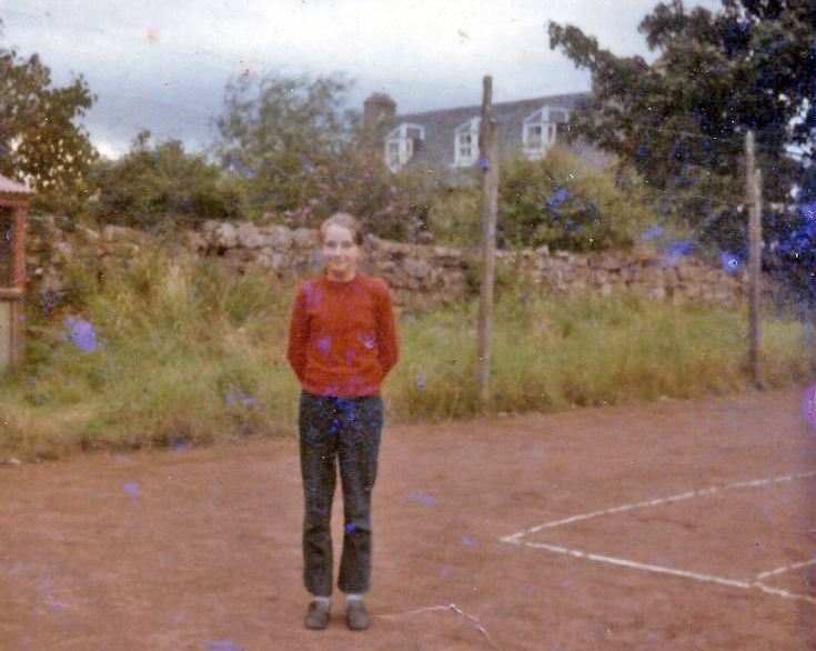 Cynthia Bain in the Tennis Court. 1970/71 maybe.
