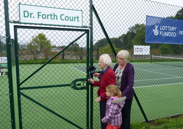 Mrs Bain opens the new Cromarty Tennis Courts
