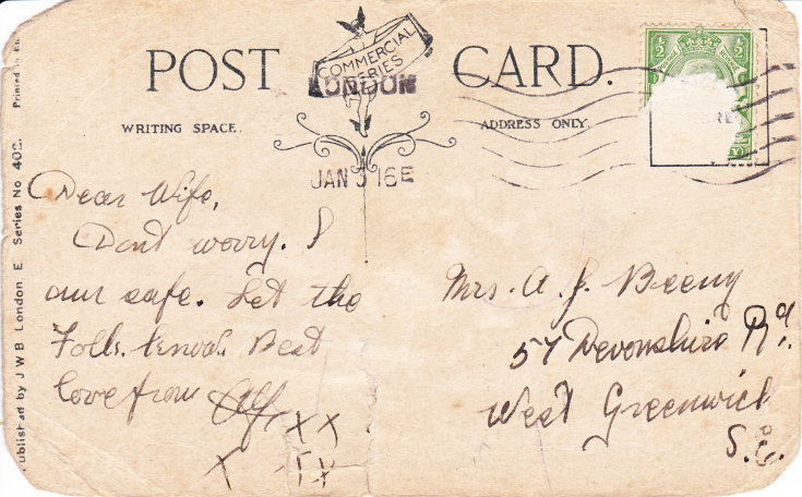 Postcard from Mechanician Alfred John Beeny