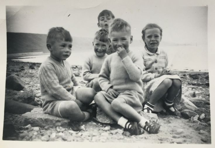 Five Clelland's on the beach in 1955