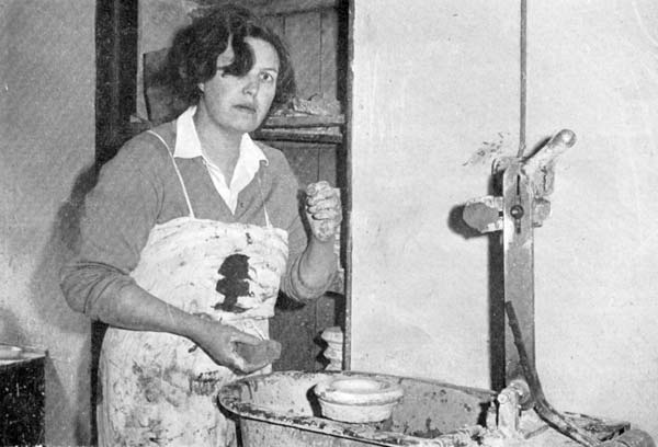 Alison Dunn working in pottery