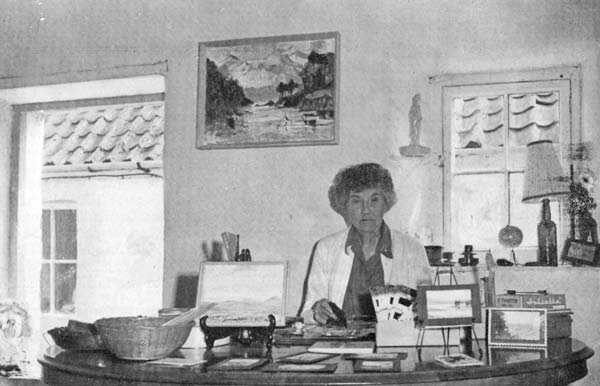 Mrs Barwell in her shop