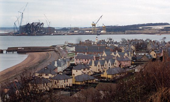 View from the west showing a jacket at Nigg