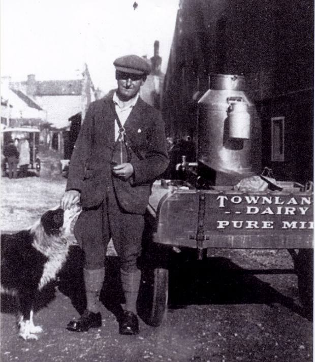 Danny McBean delivering milk - c1936