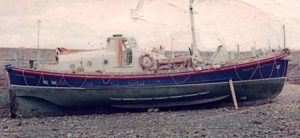 Lifeboat beached for cleaning - c1960