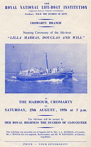 Lifeboat naming ceremony leaflet - 1956