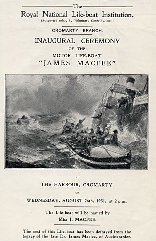 Programme for lifeboat naming ceremony - 1931