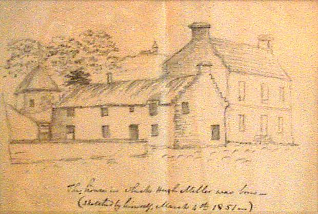 Sketch of Hugh Miller's Cottage