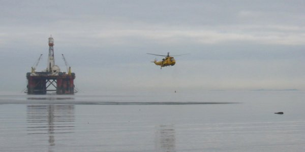 Sea King 137 making a low pass near the Targets
