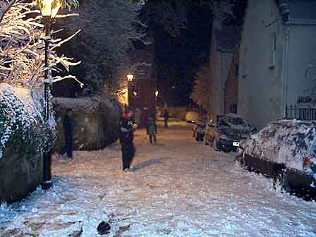 Snowball fight in Church Street